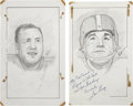 Football Collectibles:Others, Andy Robustelli and Lou Groza Signed Original Artwork Lot of 2....