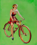 Pin-up and Glamour Art, GIL ELVGREN (American, 1914-1980). Free Wheeling, 1937. Oilon canvas. 31 x 25 in.. Not signed. ...