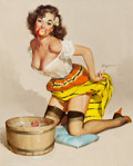 Pin-up and Glamour Art, GIL ELVGREN (American, 1914-1980). The Winner (A Fair Catch),Brown and Bigelow illustration, 1957. Oil on canvas. 30 x ...