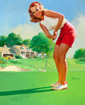 Pin-up and Glamour Art, GIL ELVGREN (American, 1914-1980). Golfer, NAPA calendarillustration, c. 1972. Oil on canvas. 28.5 x 22.5 in.. Signedl...