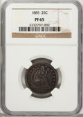 Proof Seated Quarters: , 1885 25C PR65 NGC. NGC Census: (37/38). PCGS Population (26/18).Mintage: 930. Numismedia Wsl. Price for problem free NGC/P...