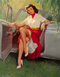 Pin-up and Glamour Art, WILLIAM MEDCALF (American, 20th Century). Nice Day for aDrive. Oil on board. 38.5 x 30 in.. Signed lower right. ...
