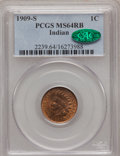 Indian Cents, 1909-S 1C MS64 Red and Brown PCGS. CAC....