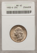 Washington Quarters: , 1932-D 25C MS62 ANACS. NGC Census: (296/442). PCGS Population(402/1153). Mintage: 436,800. Numismedia Wsl. Price for probl...