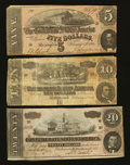 Confederate Notes:1864 Issues, Three Different 1864 Denominations.. ... (Total: 3 notes)