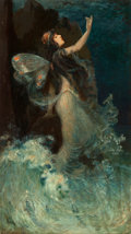 Mainstream Illustration, PAUL SWAN (American, 1884-1972). Water Nymph, 1907. Oil onboard. 27 x 15 in.. Signed lower left. ...