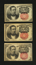 Fractional Currency:Fifth Issue, Three 10¢ Fifth Issue Notes.... (Total: 3 notes)