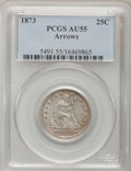 Seated Quarters: , 1873 25C Arrows AU55 PCGS. PCGS Population (23/144). NGC Census:(15/138). Mintage: 1,271,700. Numismedia Wsl. Price for pr...