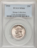 Washington Quarters: , 1932 25C MS66 PCGS. Ex:Monge Collection. PCGS Population (149/2).NGC Census: (88/2). Mintage: 5,404,000. Numismedia Wsl. P...