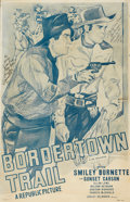 Movie/TV Memorabilia:Autographs and Signed Items, Sunset Carson and Smiley Burnette Signed Bordertown TrailMovie Poster....
