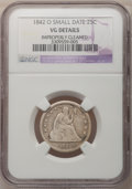 Seated Quarters: , 1842-O 25C Small Date--Improperly Cleaned--NGC Details. VG. NGCCensus: (2/25). PCGS Population (9/26). Numismedia Wsl. Pr...