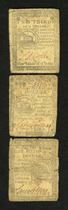 Colonial Notes:Continental Congress Issues, Continental Currency February 17, 1776 $1/6; $1/3; $2/3.... (Total:3 notes)