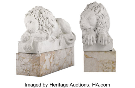 A Pair of Cast and Chiseled Marble Lions After Antonio Canova (Italian, 1757-1822), England Late 19th/Early 20th century... (Total: 2 Items)