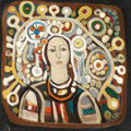 Fine Art - Painting, European:Contemporary   (1950 to present)  , Christo Todorov (Yugoslavian, born 1935). . Untitled (Woman in a Headdress) . 20th century. Oil on canvas. I...