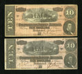 Confederate Notes:1864 Issues, T68 $10 1864 Two Examples.. . ... (Total: 2 notes)