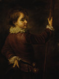 Other:American, Young Boy with Staff. . Unknown Artist. 19th century. Oil oncanvas. Unsigned. 38 x 30 inches (96.5 x 76.2 c...
