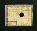 Colonial Notes:Massachusetts, Massachusetts May 5, 1780 $4 Very Fine....