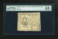 Colonial Notes:Continental Congress Issues, Continental Currency November 2, 1776 $30 PMG About Uncirculated 53EPQ. A center fold is found on this note. The serial num...