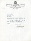 Baseball Collectibles:Others, 1949 Connie Mack Signed Letter....
