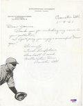 Baseball Collectibles:Others, 1961 Fred Lindstrom Handwritten, Signed Letter....