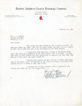 Baseball Collectibles:Others, 1942 Eddie Collins Signed Letter....
