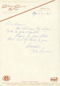 Baseball Collectibles:Others, 1964 Ted Lyons Handwritten Letter....