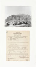 Baseball Collectibles:Others, 1921-22 Yankee Stadium Initial Construction Insurance CertificateDisplay....