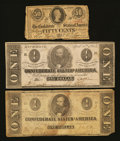 Confederate Notes:1862 Issues, $1 and 50¢ Denominations.. ... (Total: 3 notes)