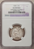 Seated Quarters: , 1848 25C --Improperly Cleaned--NGC Details. AU. NGC Census: (4/18).PCGS Population (5/18). Mintage: 146,000. Numismedia Wsl...
