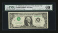 Error Notes:Inverted Third Printings, Fr. 1908-J $1 1974 Federal Reserve Note. PMG Gem Uncirculated 66 EPQ.. ...