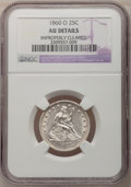 Seated Quarters: , 1860-O 25C --Improperly Cleaned--NGC Details. AU. NGC Census:(6/48). PCGS Population (3/52). Mintage: 388,000. Numismedia W...