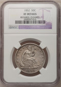 Seated Half Dollars: , 1852 50C --Cleaned, Repaired--NGC Details. XF. NGC Census: (0/57).PCGS Population (2/69). Mintage: 77,130. Numismedia Wsl. ...