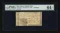 Colonial Notes:New Jersey, New Jersey December 31, 1763 12s PMG Choice Uncirculated 64 EPQ.....