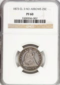 Proof Seated Quarters: , 1873 25C No Arrows PR60 NGC. NGC Census: (2/136). PCGS Population(6/141). Mintage: 600. Numismedia Wsl. Price for problem ...