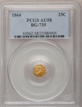 California Fractional Gold: , 1864 25C Liberty Octagonal 25 Cents, BG-735, R.4, AU58 PCGS. PCGSPopulation (13/48). NGC Census: (2/7). (#10562)...