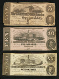 Confederate Notes:1862 Issues, Three Different 1862 Notes Very Good or Better.. ... (Total: 3notes)