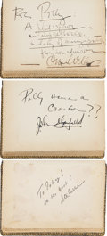 "Movie/TV Memorabilia:Autographs and Signed Items, Vintage Autograph Books of Famed Bordello ""Madam"" Polly Adler,Signed by Orson Welles, John Garfield, Peter Lorre, Frank Sinat..."