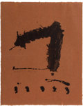 Fine Art - Work on Paper:Print, ROBERT MOTHERWELL (American, 1915-1991). Untitled,1965-1966. Lithograph on light brown Japan paper. 25 x 20 inches(63....