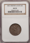 Seated Quarters: , 1853 25C Arrows and Rays AU55 NGC. NGC Census: (77/480). PCGSPopulation (97/396). Mintage: 15,210,020. Numismedia Wsl. Pri...