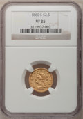 Liberty Quarter Eagles: , 1860-S $2 1/2 VF25 NGC. NGC Census: (0/104). PCGS Population(1/66). Mintage: 35,600. Numismedia Wsl. Price for problem fre...