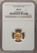 Commemorative Gold: , 1922 G$1 Grant No Star MS65 NGC. NGC Census: (253/333). PCGSPopulation (420/508). Mintage: 5,000. Numismedia Wsl. Price fo...