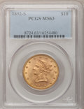 Liberty Eagles: , 1892-S $10 MS63 PCGS. PCGS Population (50/0). NGC Census: (20/1).Mintage: 115,500. Numismedia Wsl. Price for problem free ...