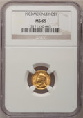 Commemorative Gold: , 1903 G$1 Louisiana Purchase/McKinley MS65 NGC. NGC Census:(367/420). PCGS Population (530/499). Mintage: 17,500. Numismedi...