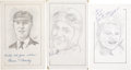 """Miscellaneous Collectibles:General, Misc. Sports Legends Signed Original Artwork Lot of 3 From """"Raitt Collection""""...."""