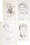 "Miscellaneous Collectibles:General, Misc. Sports Legends Signed Original Artwork Lot of 4 From ""RaittCollection""...."