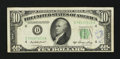 Error Notes:Skewed Reverse Printing, Fr. 2011-D $10 1950A Federal Reserve Note. Very Fine.. ...