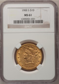 Liberty Eagles: , 1900-S $10 MS61 NGC. NGC Census: (22/24). PCGS Population (20/49).Mintage: 81,000. Numismedia Wsl. Price for problem free ...