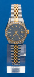Timepieces:Wristwatch, Rolex Lady's Diamond Bezel Two Tone Datejust. ...