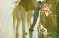 Mainstream Illustration, COBY WHITMORE (American, 1913-1988). The Rain Shower.Gouache on board. 13.75 x 21 in.. Not signed. ...