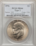 Eisenhower Dollars: , 1976 $1 Type Two MS66 PCGS. PCGS Population (392/9). NGC Census: (286/2). Mintage: 113,318,000. Numismedia Wsl. Price for p...